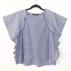 Zara Basic Collection Striped Ruffle Top